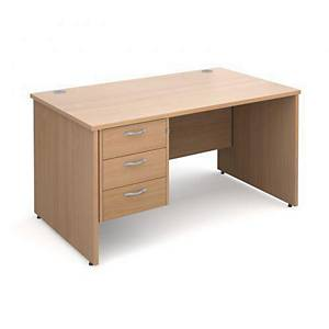Maestro 25PL Straight Desk With 3-Drawer Pedestal 1400mm Beech - Delivery Only