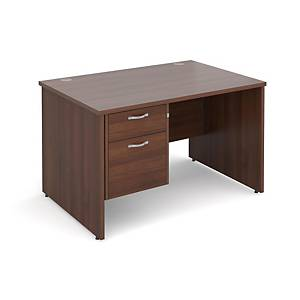 Maestro 25PL Straight Desk With 2-Drawer Pedestal 1200mm Walnut - Del & Ins