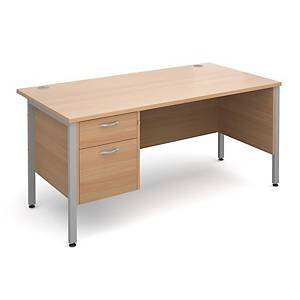 Maestro 25SL Straight Desk With 2-Drawer Pedestal 1600mm Beech - Delivery Only