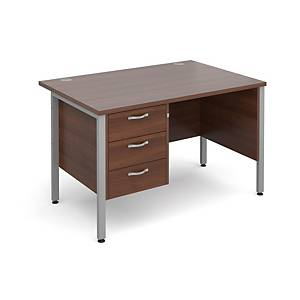 Maestro 25SL Straight Desk With 3-Drawer Pedestal 1200mm Walnut - Delivery Only