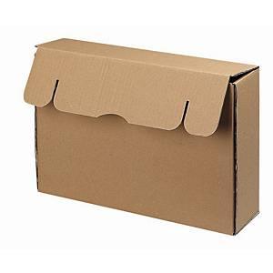 Boîte d'archive format folio, dos 9 cm, carton ondulé 850 g, brune, la boîte