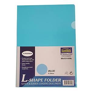 Suremark L-shape Folder A4 0.18mm Blue - Pack of 12
