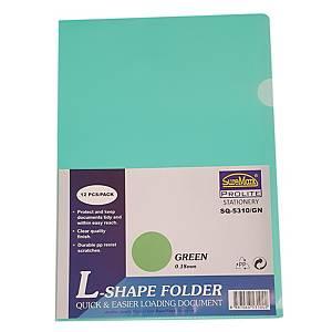 Suremark L-shape Folder A4 0.18mm Green - Pack of 12