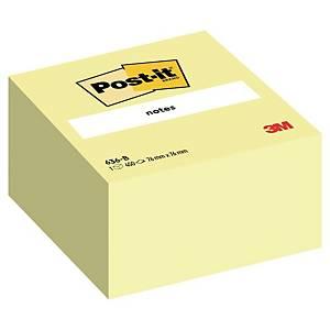 3M Post-it® 636B Samolepicí bločky v kostce 76x76 mm, žluté, bal. 450 lístků