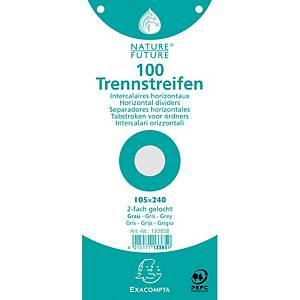 Exacompta 1/3 Trennstreifen, 190 g/m2, 100 Stk, grau