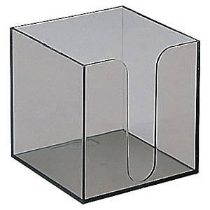 Hållare till blockkub i storleken 90 x 90 mm, i rökfärgat plexiglas