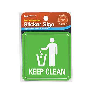 Unicorn USS-807 Sign  Keep Clean  Sticker