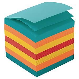 Blockkub Lyreco, 90 x 90 x 90 mm, flerfärgade ark