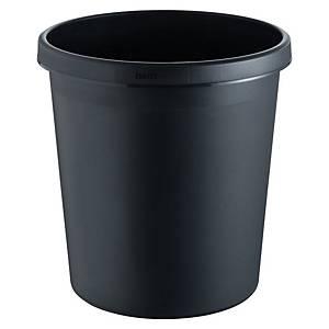 Helit round waste bin H61058 18L with height of 32cm black - per piece