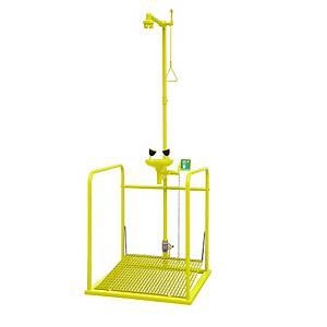/Doccia di emergenza con pedana e lavaocchi Tof 1100/480 giallo