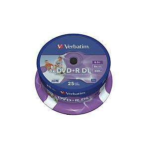 VERBATIM DVD+R Spindle 8.5GB 43667 8x DL Wide print. Emballage de 25 pièces