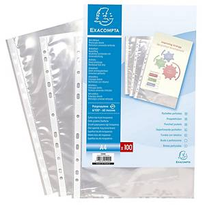 Exacompta Clear Polypropylene Punched Pockets 60 Micron, Pack 100