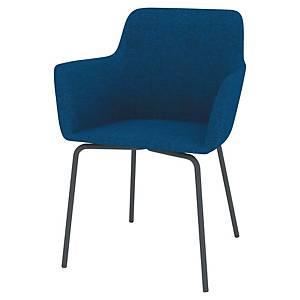 Siège Quadrifoglio Roma - tissu - 4 pieds gris mat - bleu