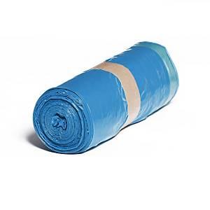 Szemeteszsák, zárószalaggal, kék, 35 l