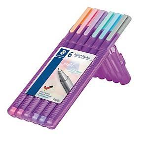 Staedtler 334SB6PA triplus fineliner kuitukärkikynä 0,3mm 1 kpl=6 kynää