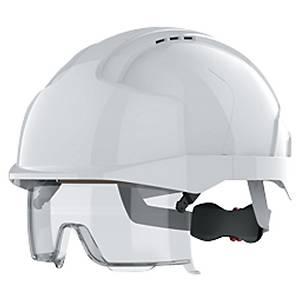 Casque JSP EVO VISTAlens  - protection oculaire, rétractable et réglable - blanc