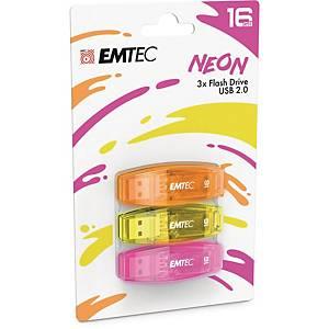 Memoria USB Emtec Color Mix C410 16 GB 2.0 GB colori neon - conf. 3