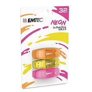Memoria USB Emtec Color Mix C410 32 GB 2.0 colori neon - conf. 3