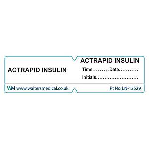 Line Label - ACTRAPID INSULIN White