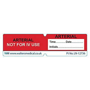 Line Label - ARTERIAL NOT FOR IV USE Red