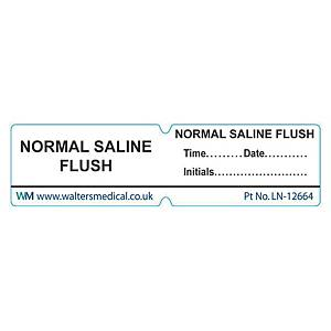 Line Label - NORMAL SALINE FLUSH White
