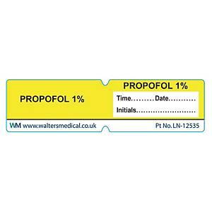 Line Label - PROPOFOL 1% Yellow