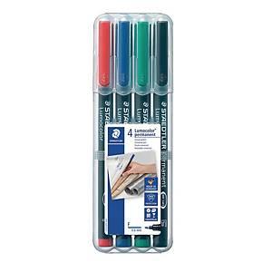 Staedtler Lumocolor 318 huopakynä 0,6mm permanent värilajitelma, 1 kpl=4 kynää