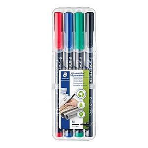 Staedtler® Lumocolor OHPen 317 M permanente marker, assorti kleuren, per 4 stuks