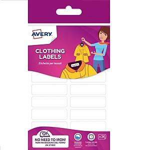 Etichette per tessuti Avery No Iron 45 x 13 mm bianco - Conf. 36