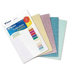 Pack de 5 cartulinas de purpurina Sadipal - 330 gr - A4 - colores pasteles
