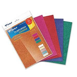 Pack de 5 cartulinas de purpurina Sadipal - 330 gr - A4 - colores intensos