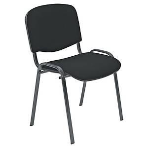 Chaise visiteur Entero - empilable - tissu - noire