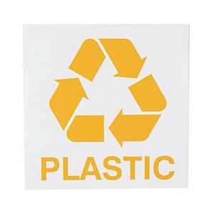 Znak informacyjny  Plastics  150 x 150 (mm), angielski opis