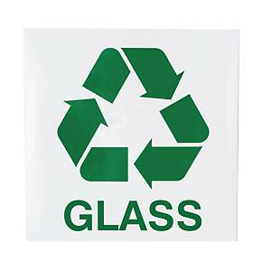 GLASS WASTE SIGN 150X150MM ENGLISH VER