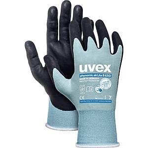 Mechanikschutzhandschuhe Uvex Phynomic AirLite B, Größe 7, swz/hellblau, 10 Paar