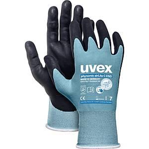 Mechanikschutzhandschuhe Uvex Phynomic AirLite C, Größe 8, swz/hellblau, 10 Paar