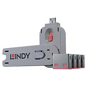 PK4 LINDY 40450 USB PORT BLOCK W/KEY RED