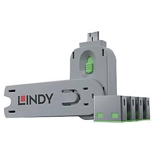 PK4 LINDY 40451 USB PORT BLOCK W/KEY GR