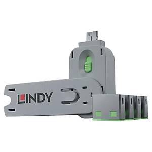 Kit bloqueur port USB clé et 4 bloqueurs Lindy - vert
