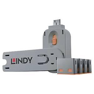 Kit bloqueur port USB clé et 4 bloqueurs Lindy - orange