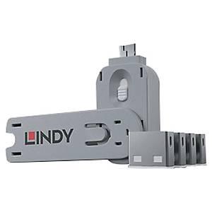 Kit bloqueur port USB clé et 4 bloqueurs Lindy - blanc