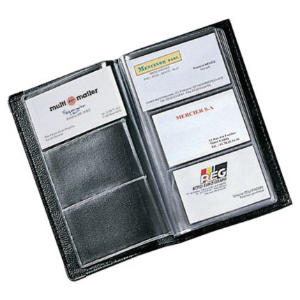 Black soft cover pvc business card file 120 card capacity reheart Choice Image