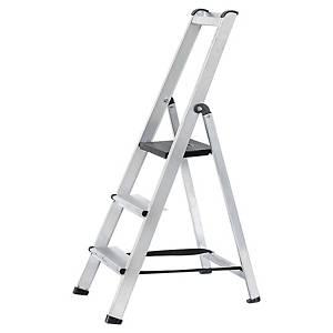 Aluminium ladder 3 treden, in aluminium