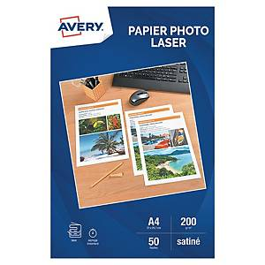Papier photo laser Avery A4 - satiné - 200 g - 50 feuilles