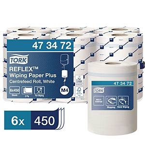 Tork Reflex™ poetsrol Plus, 2-laags, wit, pak van 6 rollen