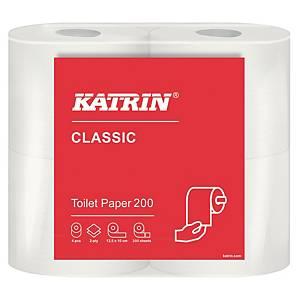 Katrin 34406 Classic Toilet 200 wc-paperi valkoinen, 1 pakkaus=10x4 rullaa