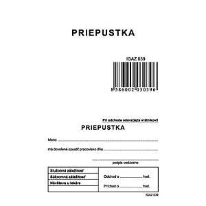Priepustka - A7 blok, Igaz 39, 100 listov