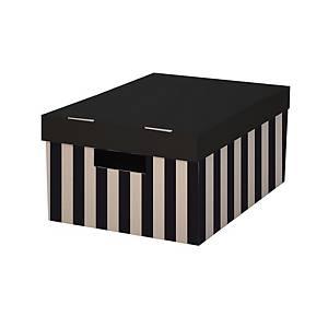 Archivační úložná krabice s víkem, 28x37x18 cm, černá, 2 ks v balení