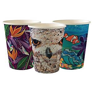 Pack de 50 vasos Bio Serie Art- Papel / PLA - 350 ml