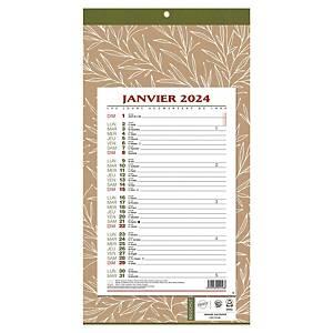 Calendrier mensuel long Natura - 19 x 36 cm - feuillets 15,8 x 23,7 cm